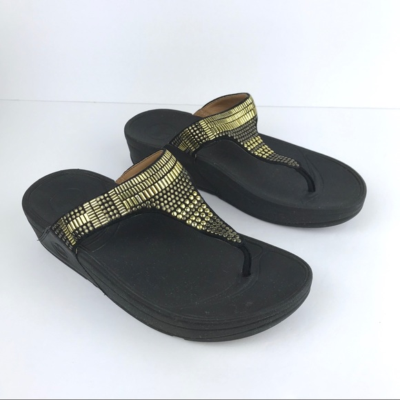 c658c27fd1a0 Fitflop Shoes - FitFlop Aztek Chada Black Thong Sandals